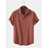 Banggood Designed Men 100% Cotton Solid Color Double Pocket Casual Shirts