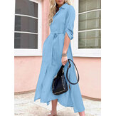Women Solid Color Lapel Lace-Up Casual Long Sleeve Maxi Dresses