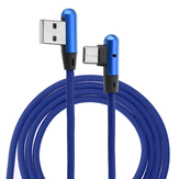 1m 2m Type C to USB Elbow Data Cable Fabric Woven Charging Cable 2.4A Fast Charging Data Transmission Connector