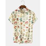 Mens Allover Mushroom Pattern Print Community Spirit Short Sleeve Shirt