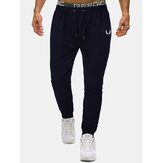 Cotton Mens Solid Color Print Pocket Drawstring Sport Jogger Pants