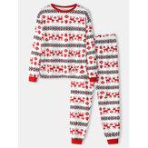 Ensemble de pyjama à la maison en coton à col rond en coton à imprimé élan pour hommes