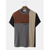 Мужские трикотажные футболки с надписью Color Block Veins Шаблон Свободные футболки