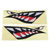 Shark Teeth Mouth & Eyes Impermeable Adhesivo de vinilo para Coche Shark barco Kayak