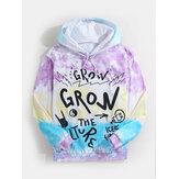 Sudaderas con capucha de manga larga con efecto tie dye y estampado Graffiti Ltter para hombre con bolsillo canguro