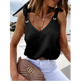 Tie-up Shoulder Strap V-neck Sleeveless Women Casual Cami