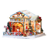 IIECREATE 2020 New Christmas K-058 Christmas Snowy Night DIY Assembled Cabin with Doll Three-piece Set with Dust Cover