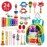 24PCS Wooden Kids Musical Instruments Baby Toddlers Early Education Set Rattles Toys