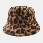 Mulher Cordeiro Cabelo Quente Soft Leopardo Padrão Balde de personalidade casual Chapéu