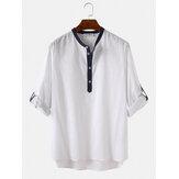 Herren 100% Baumwolle Stehkragen Dreiviertel-Ärmel Casual Henley Shirts