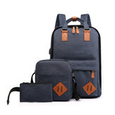 3 in 1 15.6 inch Laptop Bag with USB Charging Port Lagrge Capacity Nylon Classic Business Outdoor Stylish Backpack Scratchproof Breathable