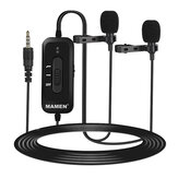 MAMEN KM-D2 Pro Wired microphone Clip-on Lavalier microphone Noise Reduction Omni-directional Dual Mics for Smart Phone Camera Recording