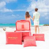 6PCSضدللماءحقيبةالسفرالحقيبة الملابس Nylon حقيبة الأمتعة