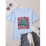 Leopard Printed O-neck Short Sleeve Casual T-shirts