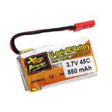 ZOP Power 3.7V 850mAh 1S 45C Batterie Lipo avec la Fiche JST