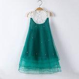الفتيات الأطفال اللؤلؤ الدانتيل خياطة فستان الأميرة