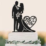 Acrílico Novia Y Novio Con El Amor Pastel Cake Boda Cake Decoración