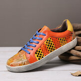 SOCOFY Retro Leather Printing Pattern Cutout Splicing Lace Up Casual Sneakers