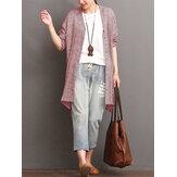 Women Irregular Long Sleeve Cotton Linen Shirt