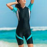 Women Trendy Wetsuit Nylon Zip Shorty Swimwear Women Stretch Lady Diving Suit Swimsuit Surfing Jumpsuit