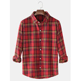 Plaid Print Lapel Collar Button Up Long Sleeve Casual Shirts For Men