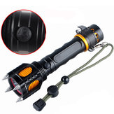 Elfeland  T6 2000LM 5Modes Four Attack Heads Tactical Alarm LED Flashlight 18650