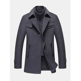 Mens Thicken Warm Solid Business Woolen Trench Coats