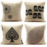 Retro Leaf Pillow Case Linen Cotton Cushion Cover Home Decorations
