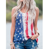 America Flag Print O-neck Sleeveless Casual Tank Tops