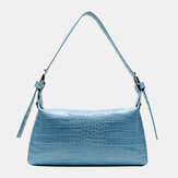 Alligator Croc Pattern Casual Solid Color Shoulder Bag Handbag For Women