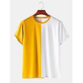 メンズカラーブロックブレスアブル&シンカジュアルラウンドネックTシャツ