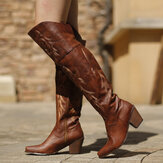Women Large Size Tribal Pattern Retro Warm Knee High Riding Boots