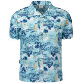 Mens Hawaiian Style Kokosbaum Printing Beach Shirts