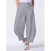 Casual vendimia Bolsillos laterales de color liso Pernera ancha suelta Pantalones
