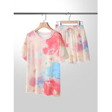 Plus Size Women Tie-Dye Short Sleeve Drawstring Casual Pajama Set