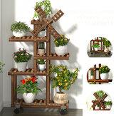 Multi-camada de madeira estande de plantas de plantas prateleira de flores em vaso moinho de plantas titular exibir decoração ao ar livre kit de ferramentas de plantio