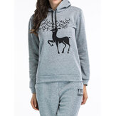 Christmas Women Casual Snow Deer Printed Long Sleeve Hooded Sweatshirts