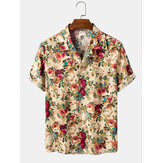 Baumwolle Multiple Floral Print Button Up Hawaii Urlaub Kurzarm Shirts
