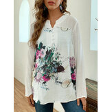 Blusa de patchwork estampado vintage Plus tamanho feminino