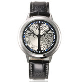 Touch Screen LED Waterproof Personality Tree Shaped Dial Leather Strap Lover Men Women Watch