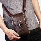 男性本革7インチレトロ電話バッグウエストバッグベルトバッグクロスボディバッグスリングバッグ