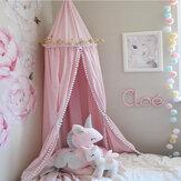 Cotton Kid Baby Bed Copriletto a baldacchino Zanzariera Tenda Biancheria da letto Palla di pelliccia Rotonda Dome Zanzariera per tende