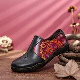 SOCOFY Retro Ekleme Çiçek Desen Rahat Hakiki Deri Yan Fermuar Rahat Düz Ayakkabı