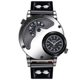 YNFRU Modieus Heren Creatief horloge Dual display klok lederen band quartz horloge