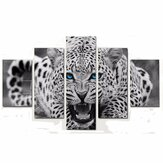 5Pcs Leopard Canvas Paintings Wall Decorative Print Art Pictures Frameless Wall Hanging Decorations for Home Office