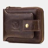 Bullcaptain RFID Antimagnetic Vintage Couro Genuíno 11 Slots Coin Bolsa Carteira com zíper para homens