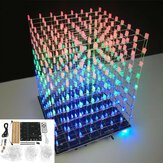 DIY WIFI APP 8x8x8 3D Light Cube Zestaw Red Blue Green LED MP3 Spectrum Electronic Kit Bez obudowy
