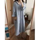 Plus Size Women Casual Loose Solid Color Long Sleeve Shirt Dress