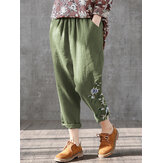 Flores Imprimir Cintura Elástica Plus Tamaño Casual Pantalones Para Mujer