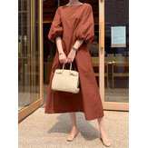 Women Solid Color O-Neck Puff Sleeves Swing Casual Maxi Dress